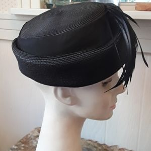 Valerie Modes Accessories - Vintage Black Hat with Black Feathers